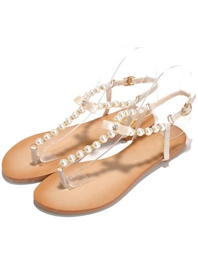 sandales plates orné de perles -abricot
