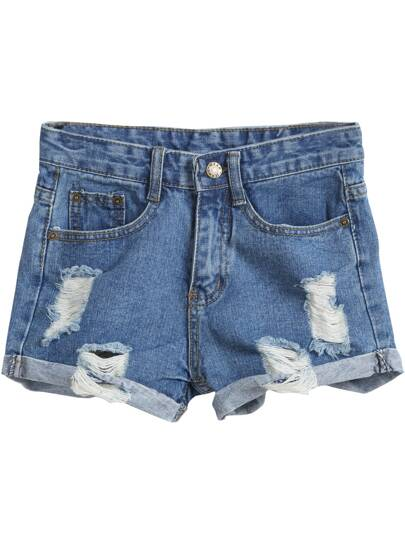 Denim Shorts mit zerrissenen Design und Taschen-blau