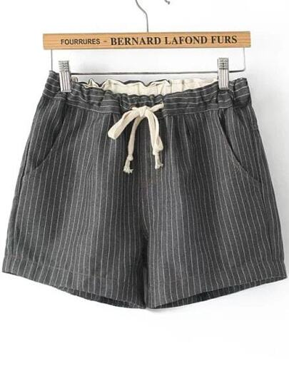 Pantalón corto cintura cordón rayas verticales-gris