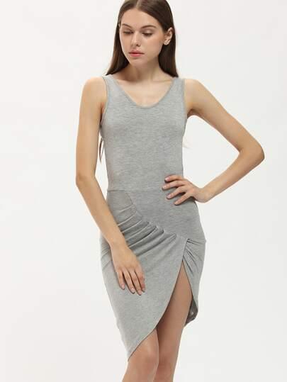 Grey Criss Cross Back Asymmetrical Slim Dress
