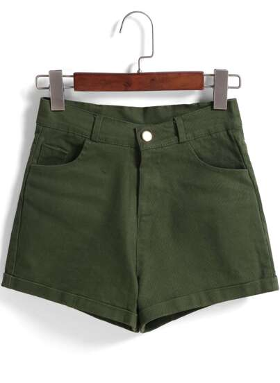 Green Pockets Denim Shorts