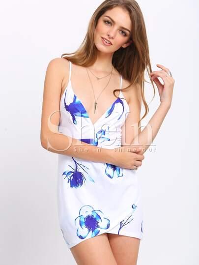 White Spaghetti Strap Floral Print Dress