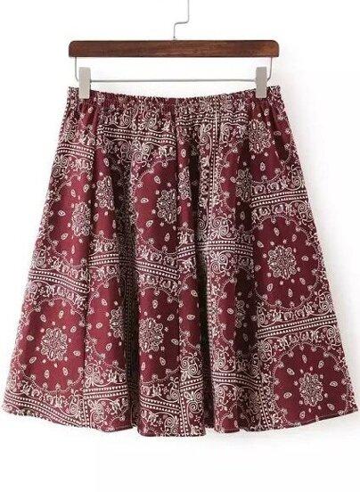 Wine Red Elastic Waist Floral Pleated Skirt