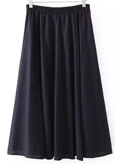 jupe longue plissé taille élastique -bleu marine