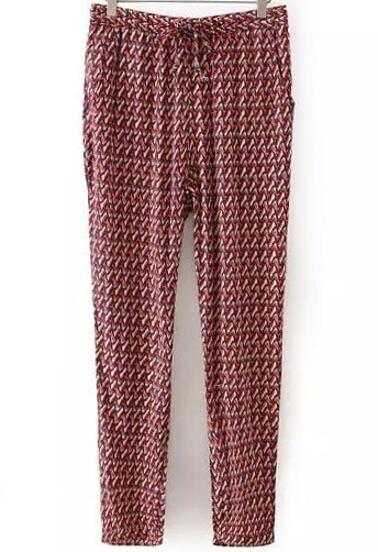 Pantalon avec cordon et pied de poule - rouge bleu