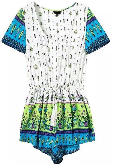 Blue Short Sleeve Floral Drawstring Jumpsuit