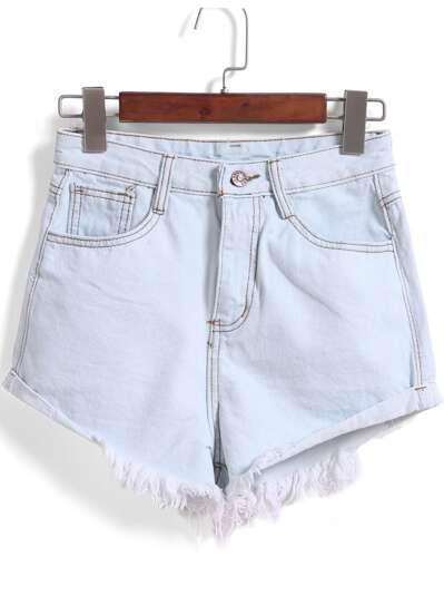 Shorts Denim flecos bolsillos-azul claro