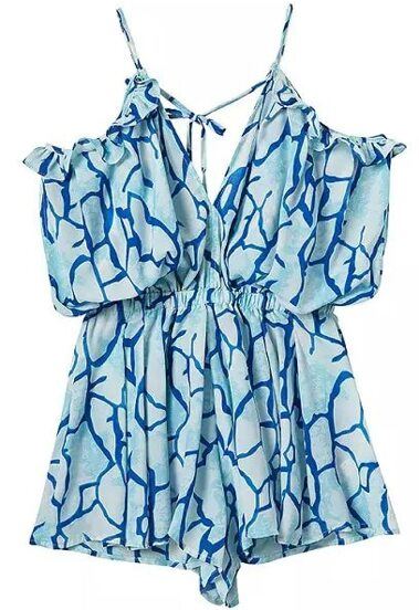 Light Blue Spaghetti Strap Floral Loose Dress