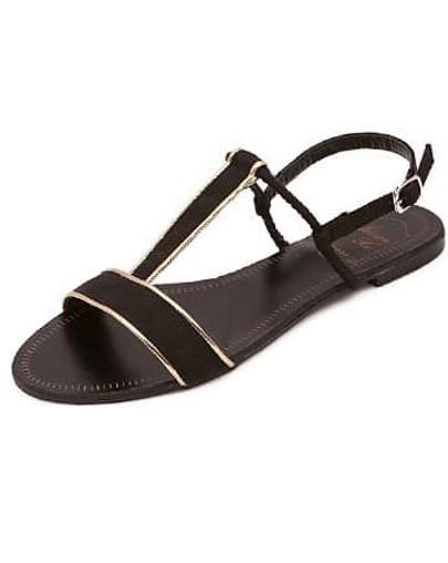 sandales plates design -noir
