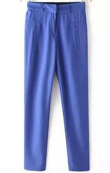Pantalones gasa casual bolsillos-azul