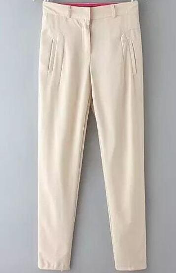 Pantalones gasa casual bolsillos-beige