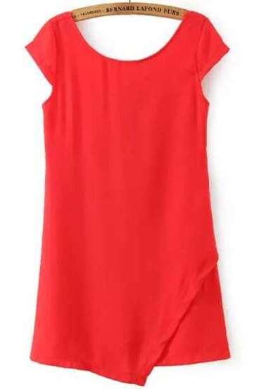 Vestido asimétrico de moda-rojo