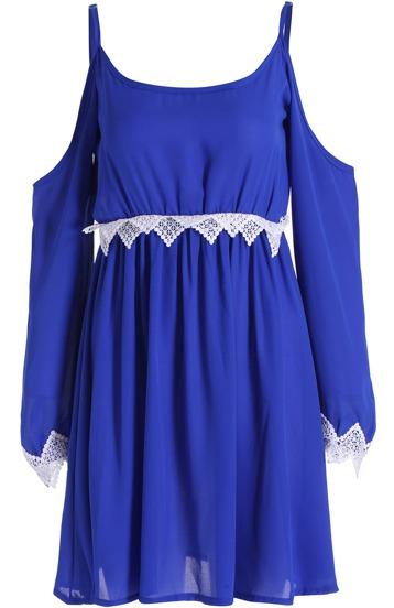 robe en mousseline dentelle épaule dénudé -bleu