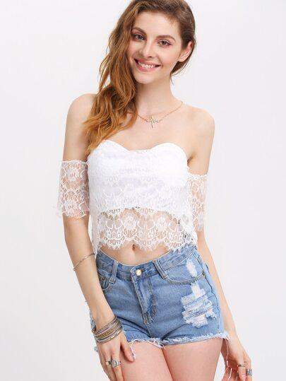 White Off the Shoulder Crop Lace Blouse