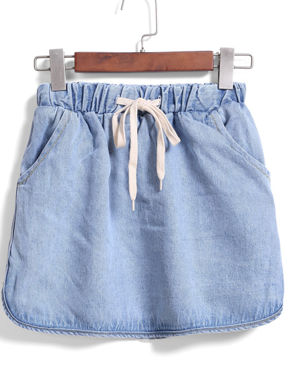 Drawstring Waist Denim Skirt