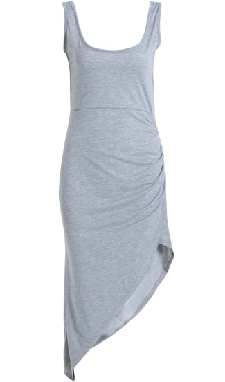 Grey Scoop Neck Backless Asymmetrical Fishtail Dress