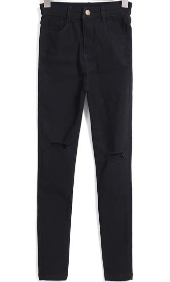 Pantalones vaqueros con rotos-negro