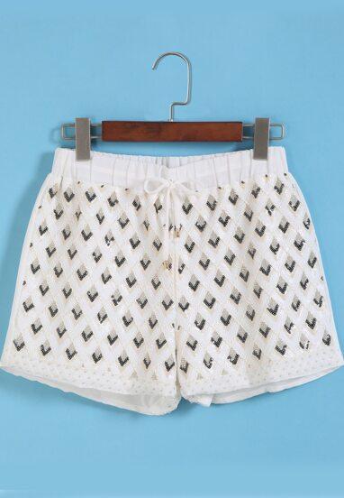 Pantalón corto gasa abalorio -blanco