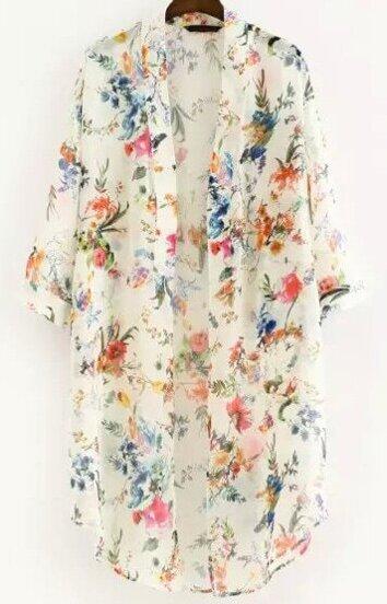 Kimono manga media flores-blanco