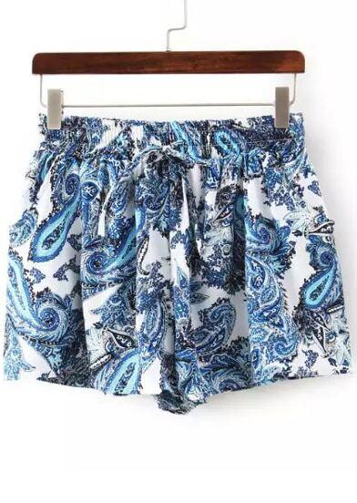 Blue Drawstring Waist Totems Print Shorts