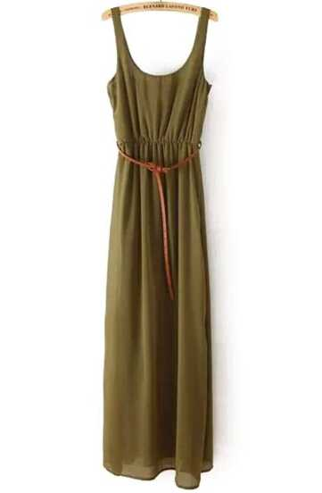 Green Spaghetti Strap Casual Maxi Dress