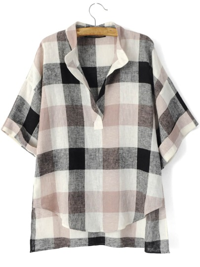 Black Beige V Neck Preppy Appropriately Plaid Checkered Loose Blouse