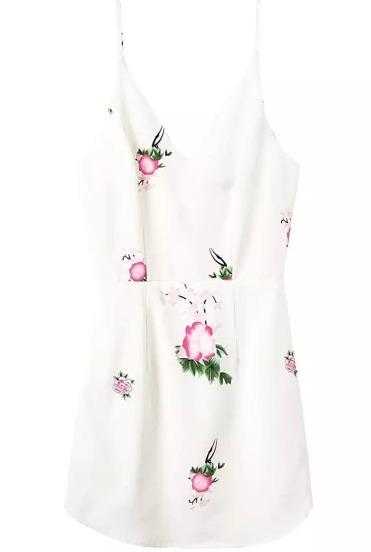 Spaghetti Strap With Zipper Flower Print White Dress