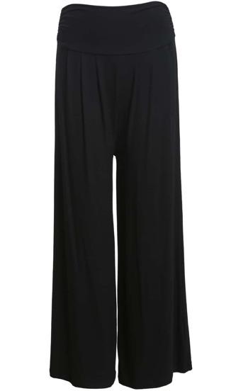 Pantalones anchos cintura alta-negro