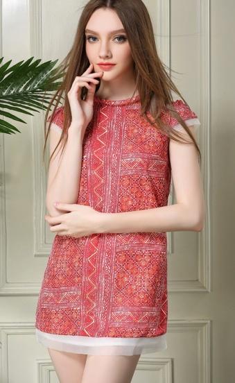 Red Short Sleeve Vintage Print Straight Dress