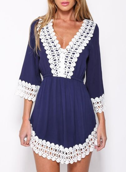 Blue V Neck Lace Crochet Panelled Hollow Dress