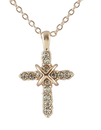Hot Sale Beautiful Women Latest Rhinestone Cross Necklace