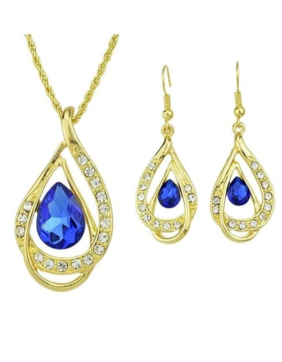2015 Latest Design Gold Plated Colored Rhinestone Necklace Earrings Set