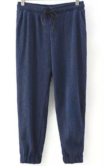 Pantalones cintura elástica-azul marino