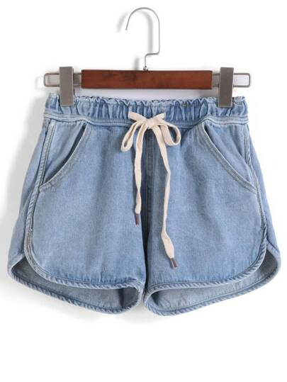 Drawstring Waist Denim Shorts