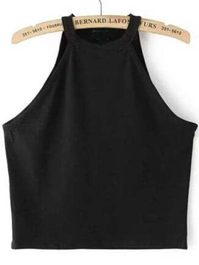 Top crop da donna nero