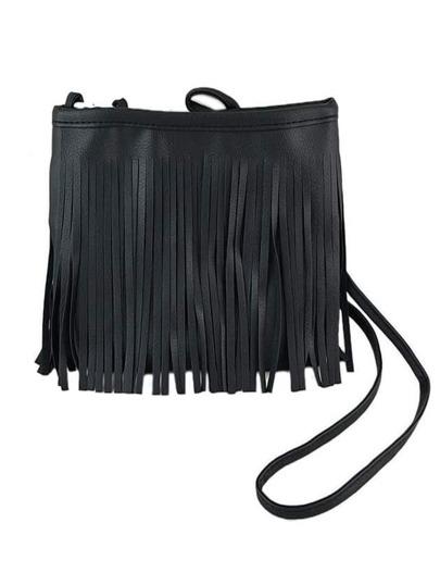 Black Pu Leather Tassel Along Bag