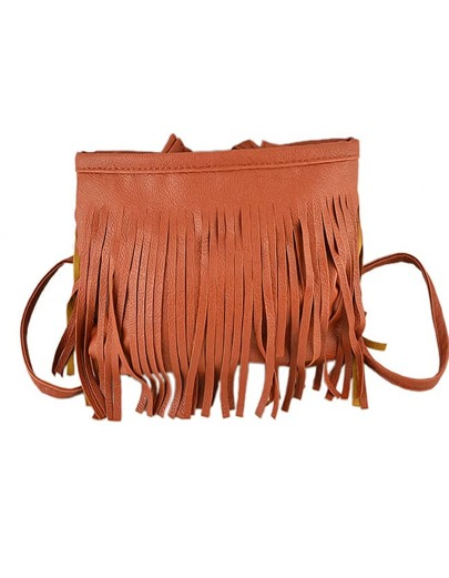 Brown Pu Leather Tassel Along Bag