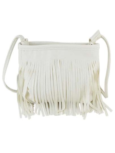 White Pu Leather Tassel Along Bag