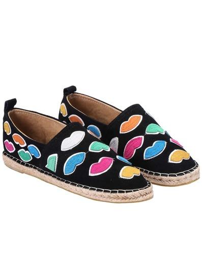 chaussures plates motif lèvres -Noir