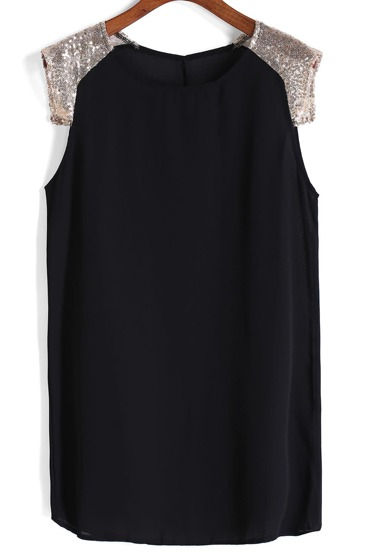 With Sequined Shift Chiffon Black Dress