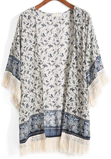 Kimono con flecos tribal estampado -azul