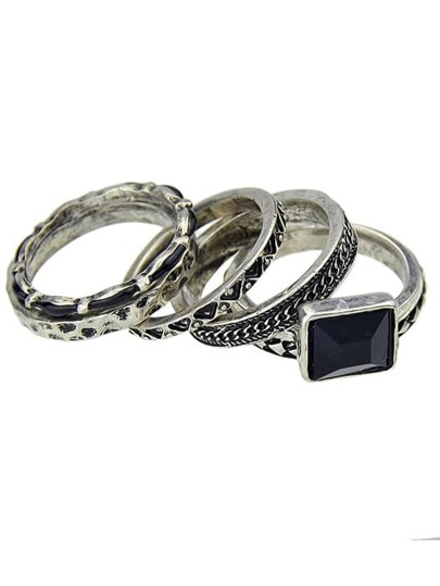 Four Pieces At-silver Ring Set