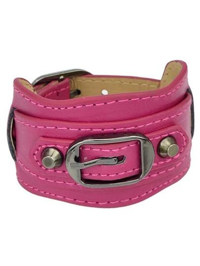 Hotpink Wide Women Leather Bracelet
