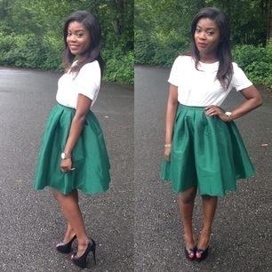 Dark Green Flare Pleated Midi Skirt Style Gallery
