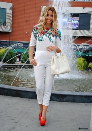 White Long Sleeve Floral Belt Jumpsuit -SheIn(Sheinside)