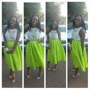 Bright Neon Green Midi Skater Skirt -SheIn(Sheinside)