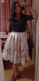 Plum Blossom Print Flare Skirt -SheIn(Sheinside)