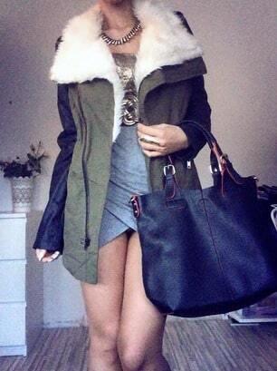 Black pu leather sleeve faux fur lapel coat