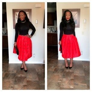 Red Frog Print Flare Skirt -SheIn(Sheinside)