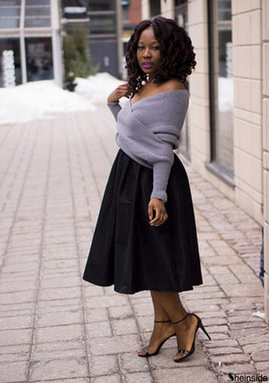 Grey Off the Shoulder Crop Knit Sweater -SheIn(Sheinside)